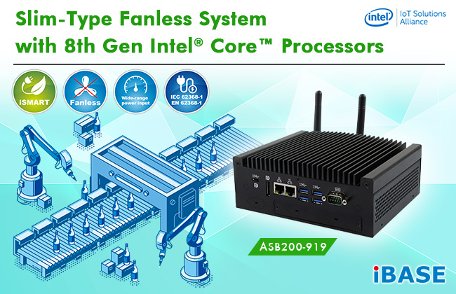 ASB200-919 Slim-Type Fanless System with 8th Gen Intel® Core™ Processors