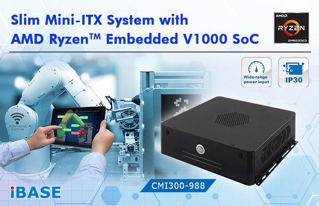 Slim Mini-ITX System with AMD Ryzen Embedded V1000 SoC