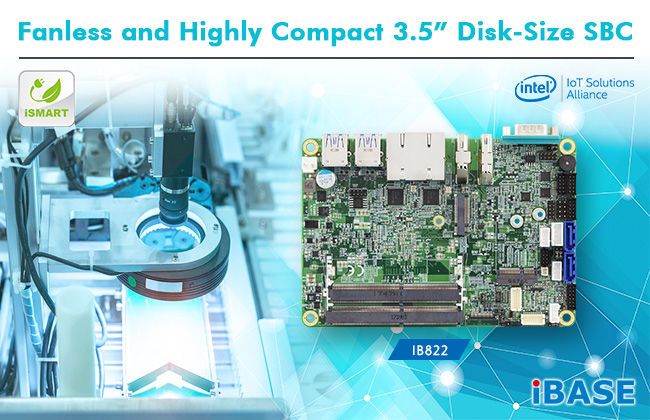 "Fanless and Highly Compact 3.5"" Disk-Size SBC IB822"