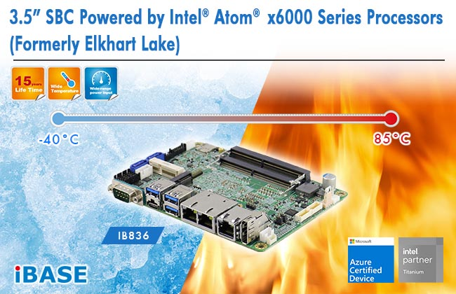 "IB836_3.5"" SBC Powered by Intel® Atom x6000 Series Processors(Formerly Elkhart Lake)"