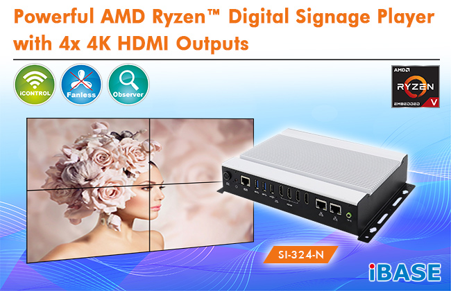 Powerful AMD Ryzen™ Digital Signage Player with 4x 4K HDMI Outputs